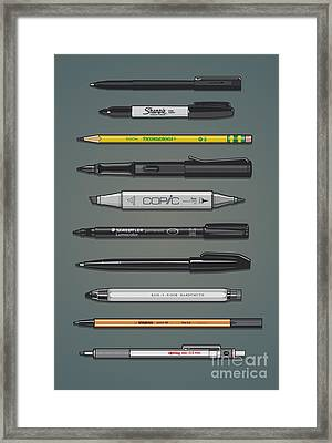 Pen Collection For Sketching And Drawing II Framed Print by Monkey Crisis On Mars