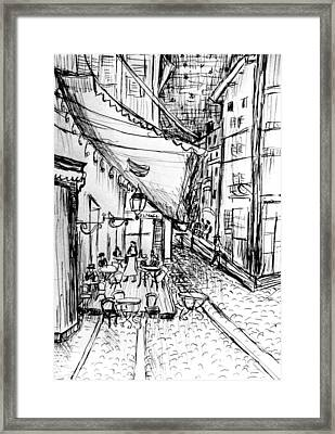 Pen Sketch Of Cafe Terrace At Night Framed Print by Hae Kim