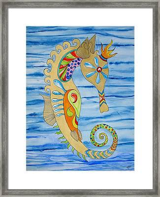Penelope The Seahorse Framed Print by Erika Swartzkopf