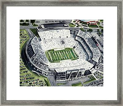Penn State Beaver Stadium Whiteout Game University Psu Nittany Lions Joe Paterno Framed Print by Laura Row