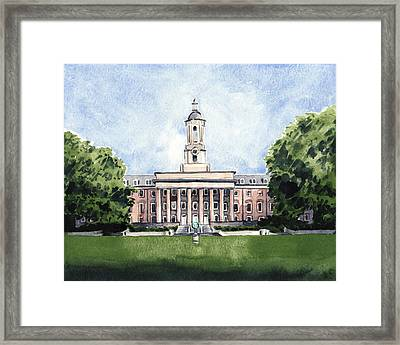 Penn State Old Main Alma Mater State College Framed Print by Laura Row