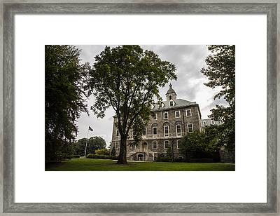 Penn State Old Main And Tree Framed Print by John McGraw