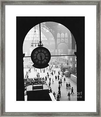 Penn Station Clock Framed Print by Van D Bucher and Photo Researchers