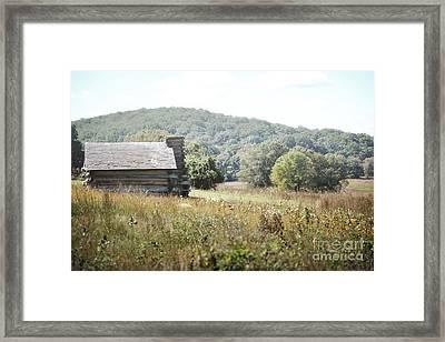 Pennsylvania Log Cabin Field Landscape Framed Print by Andrea Hazel Ihlefeld
