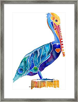 Penny Pelican Framed Print by Jo Lynch