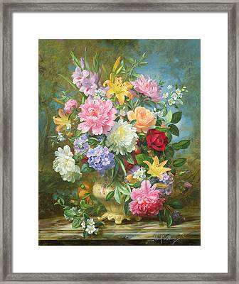 Peonies And Mixed Flowers Framed Print by Albert Williams
