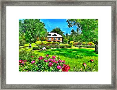 Peonies At The Ornamental Gardens Framed Print by Jean-Marc Lacombe