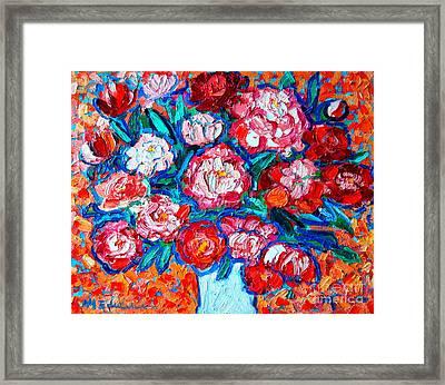 Peonies Bouquet Framed Print by Ana Maria Edulescu