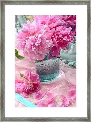 Peonies In Mason Jar - Summer Garden Peonies Ball Jar - Romantic Peonies Aqua Pink Decor Framed Print by Kathy Fornal