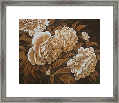 Peonies In Sepia Framed Print by Karen Coombes