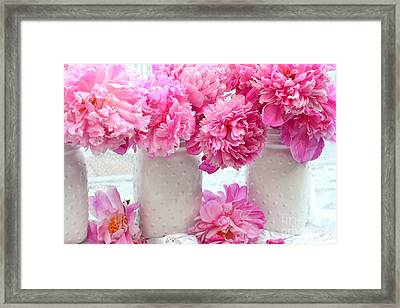 Peonies In White Mason Jars - Romantic Bright Pink Peonies  Framed Print by Kathy Fornal