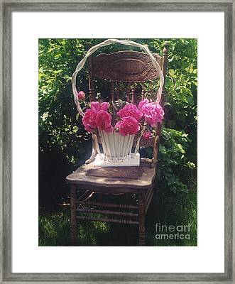 Peonies In White Vintage Basket - Shabby Cottage Chic Garden Vintage Chair Basket Of Peonies Framed Print by Kathy Fornal