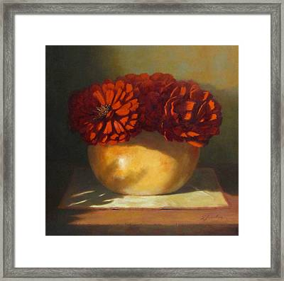 Peonies Framed Print by Linda Jacobus