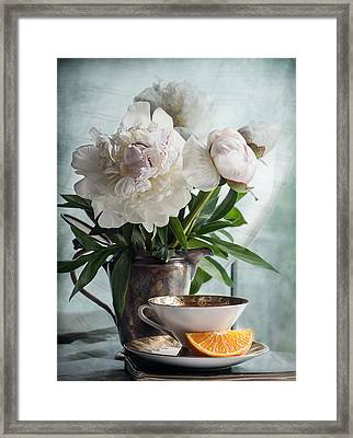 Peonies Tea And Oranges Framed Print by Maggie Terlecki