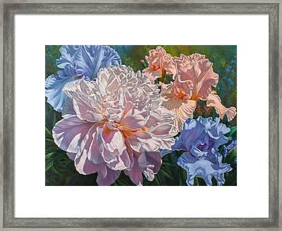 Peony And Irises Framed Print by Fiona Craig