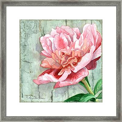 Peony At The Fence 2 Framed Print by Audrey Jeanne Roberts