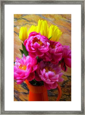 Peony's And Tulips In Pitcher Framed Print by Garry Gay
