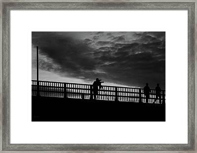 People On The Bridge Framed Print by Bob Orsillo