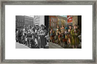 People - People Waiting For The Bus - 1943 - Side By Side Framed Print by Mike Savad
