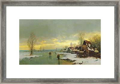 People Walking On A Frozen River  Framed Print by Johann II Jungblut