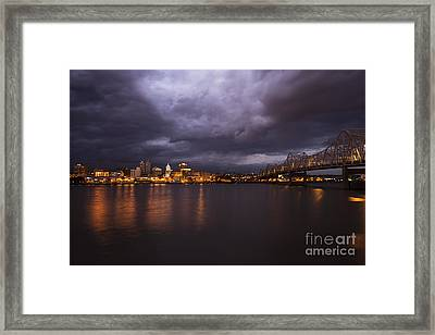 Peoria Dramatic Skyline Framed Print by Andrea Silies