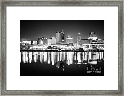 Peoria Illinois At Night Black And White Photo Framed Print by Paul Velgos