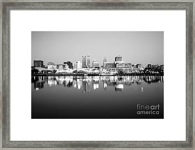 Peoria Illinois Skyline Black And White Photo Framed Print by Paul Velgos