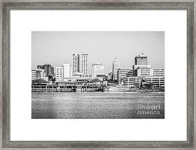 Peoria Skyline Black And White Picture Framed Print by Paul Velgos