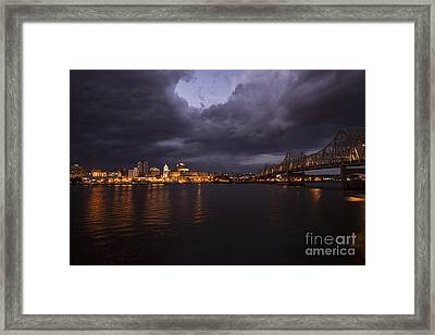 Peoria Stormy Cityscape Framed Print by Andrea Silies