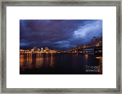 Peoria Winter 5pm Blues Framed Print by Andrea Silies