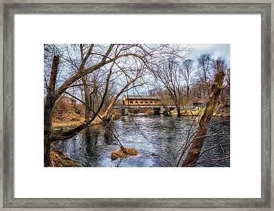 Pepperell Covered Bridge Framed Print by Larry Richardson