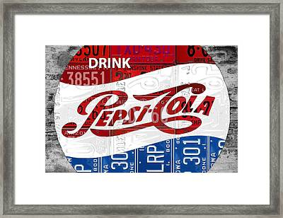 Pepsi Cola Vintage Logo Recycled License Plate Art On Brick Wall Framed Print by Design Turnpike