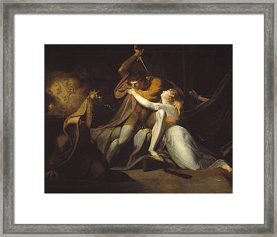 Percival Delivering Belisane From The Enchantment Of Urma Framed Print by Henry Fuseli
