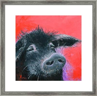 Percival The Black Pig Framed Print by Jan Matson