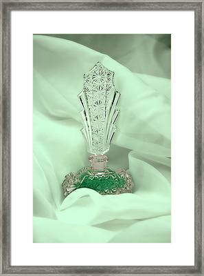Perfume Bottle Still Life II In Green Framed Print by Tom Mc Nemar