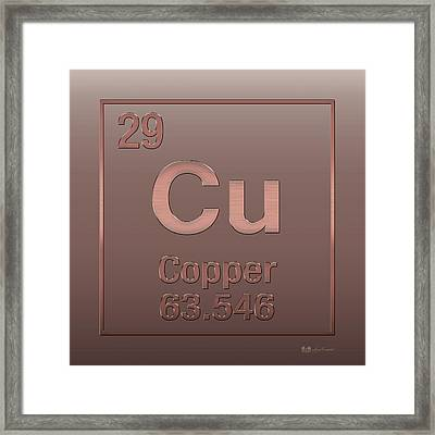 Periodic Table Of Elements - Copper - Cu - Copper On Copper Framed Print by Serge Averbukh