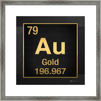 Periodic Table Of Elements - Gold - Au - Gold On Black Framed Print by Serge Averbukh