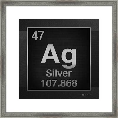 Periodic Table Of Elements - Silver - Ag - Silver On Black Framed Print by Serge Averbukh