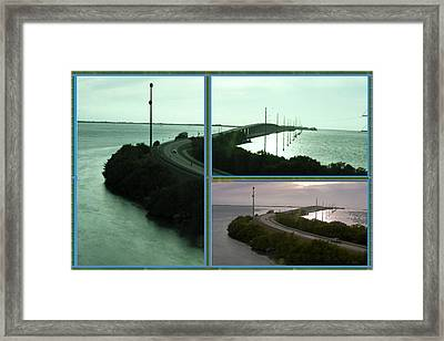Periscope Photography Of Roads N Baches 90 Miles South Of Miami On The Island Chain Of Islamorada Framed Print by Navin Joshi