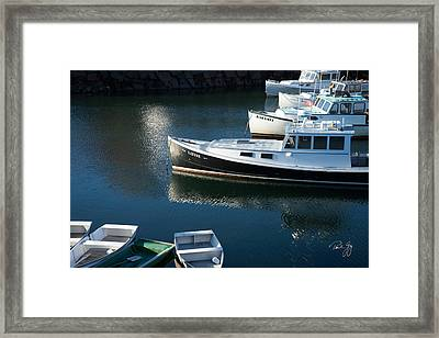 Perkins Cove Lobster Boats One Framed Print by Paul Gaj