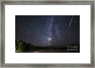 Perseids Meteor Shower Over Cottage Country Framed Print by Charline Xia