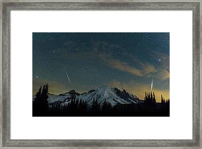 Perseids Over Mt Rainier Framed Print by Angie Vogel