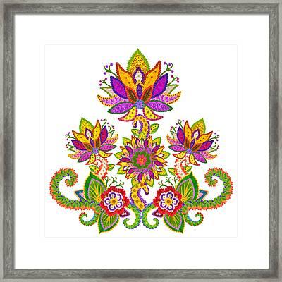 Persian Sun Lotus Isolated Framed Print by Aleksandr Volkov