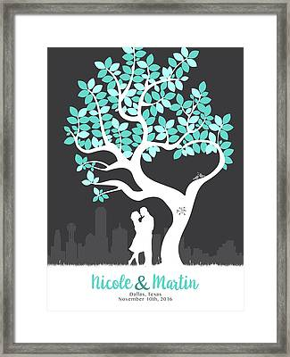 Personalized Dallas Texas Skyline Wedding Gift Framed Print by Aged Pixel