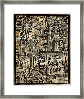Perspective Trippy Geometry Vintage Mediterranean Dictionary Art Framed Print by Jacob Kuch