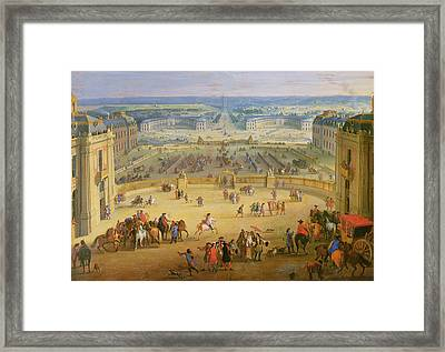 Perspective View From The Chateau Of Versailles Framed Print by Jean-Baptiste Martin