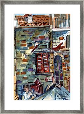 Perugia Street Cornor Framed Print by Mindy Newman