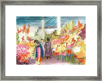 Peruvian Flower Market Framed Print by Nancy Brennand