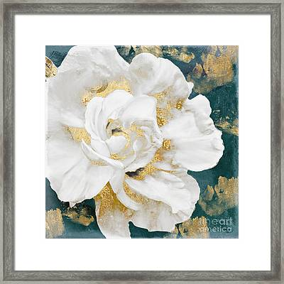 Petals Impasto White And Gold Framed Print by Mindy Sommers