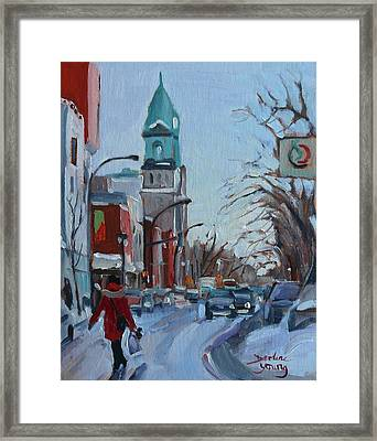 Petite Italie, Montreal Winter Scene Framed Print by Darlene Young